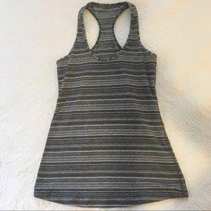 Grey and White Stripe Lululemon Tank Top